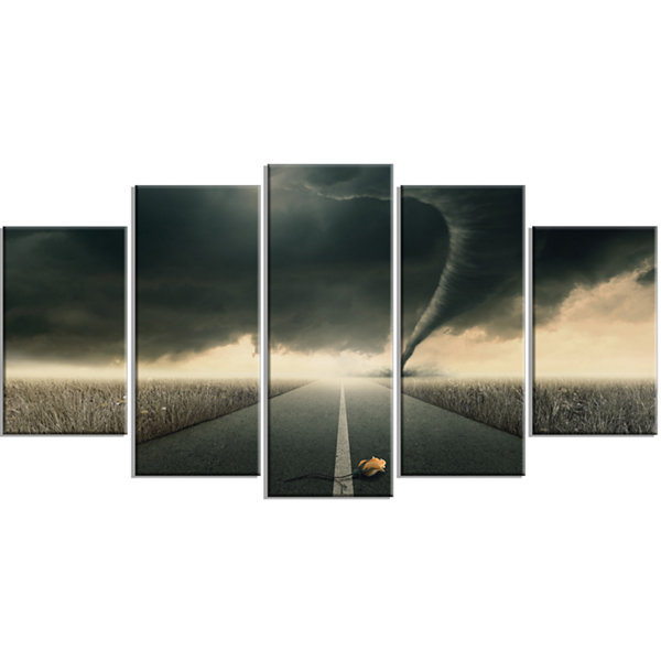 Designart Yellow Rose On The Dark Road LandscapeWrapped Canvas Art Print - 5 Panels