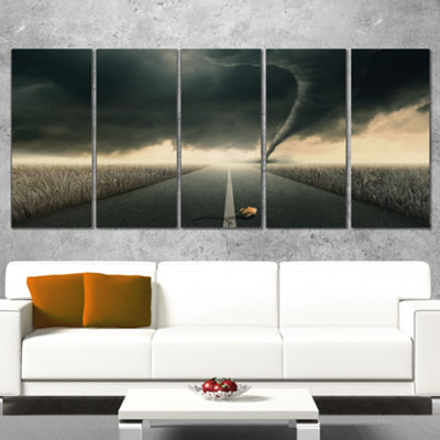Designart Yellow Rose On The Dark Road LandscapeCanvas Art Print - 5 Panels