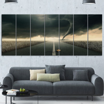 Designart Yellow Rose On The Dark Road LandscapeCanvas Art Print - 7 Panels