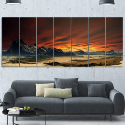 Designart Beautiful Alien Planet Traos LandscapeCanvas Art Print - 5 Panels