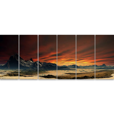 Designart Beautiful Alien Planet Traos LandscapeCanvas Art Print - 6 Panels