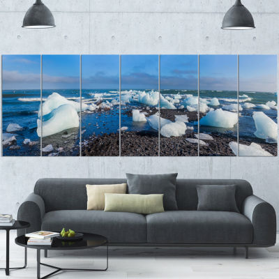 Designart Ice Blocks On Sand Beach Seashore PhotoWrapped Canvas Art Print - 5 Panels
