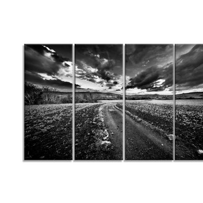 Black White Landscape From Sardinia Landscape Canvas Art Print - 4 Panels