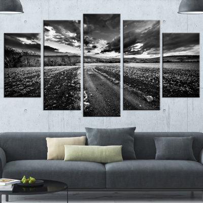 Design Art Black White Landscape From Sardinia Landscape Wrapped Canvas Art Print - 5 Panels