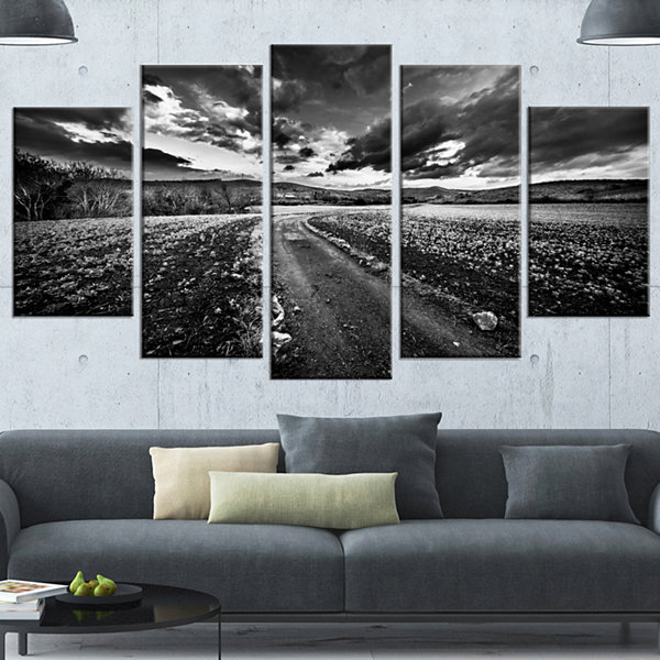Designart Black White Landscape From Sardinia Landscape Wrapped Canvas Art Print - 5 Panels