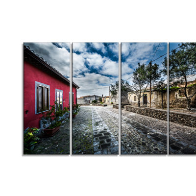Designart Beautiful Milis Street Sardinia Landscape Canvas Art Print - 4 Panels
