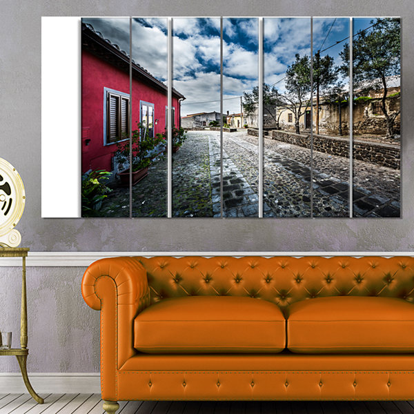 Design Art Beautiful Milis Street Sardinia Landscape Canvas Art Print - 4 Panels