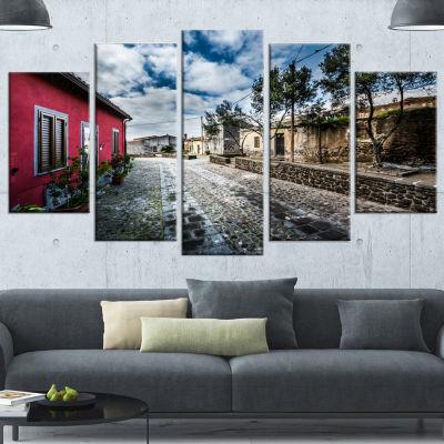 Designart Beautiful Milis Street Sardinia Landscape Wrapped Canvas Art Print - 5 Panels