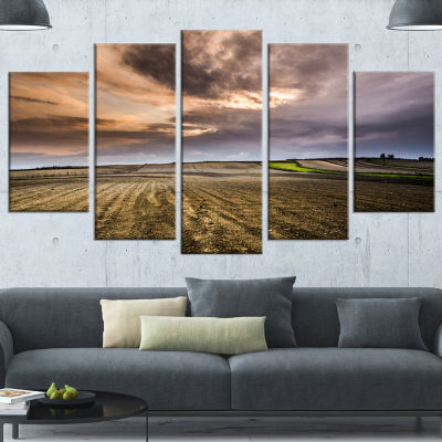 Designart Field Waiting For Cultivation LandscapeCanvas Art Print - 4 Panels