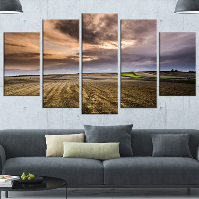 Designart Field Waiting For Cultivation LandscapeWrapped Canvas Art Print - 5 Panels