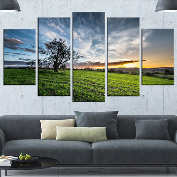 Designart Green Grass Field In Sardinia LandscapeCanvas Art Print - 4 Panels
