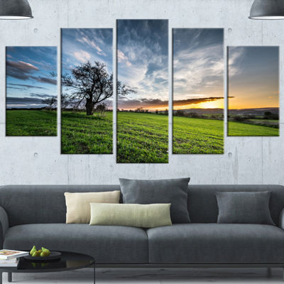 Designart Green Grass Field In Sardinia LandscapeWrapped Canvas Art Print - 5 Panels