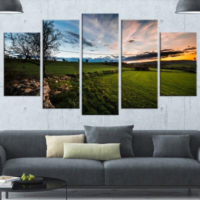 Designart Beautiful Green Meadow In Sardinia Landscape Wrapped Canvas Art Print - 5 Panels