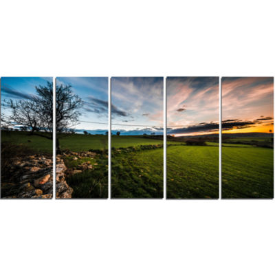 Beautiful Green Meadow In Sardinia Landscape Canvas Art Print - 5 Panels