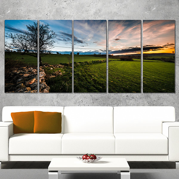 Design Art Beautiful Green Meadow In Sardinia Landscape Canvas Art Print - 5 Panels