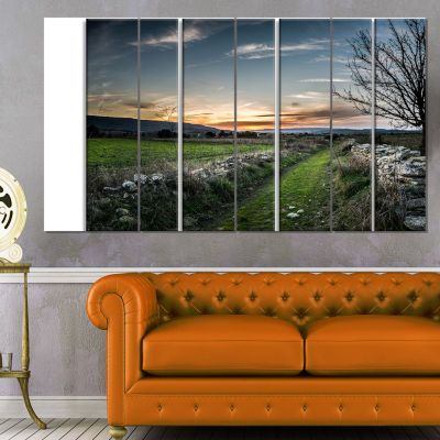 Rocky Fences In Green Grassland Extra Large Landscape Canvas Art Print - 4 Panels