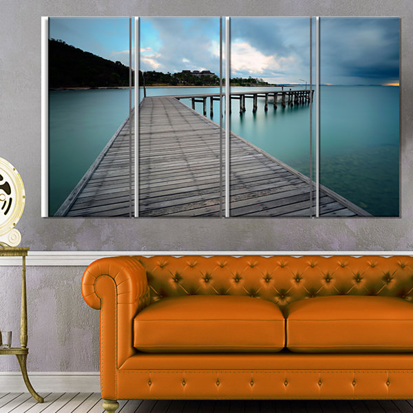 Design Art Wooden Bridge To Calm Ocean Modern Canvas Art Print - 4 Panels