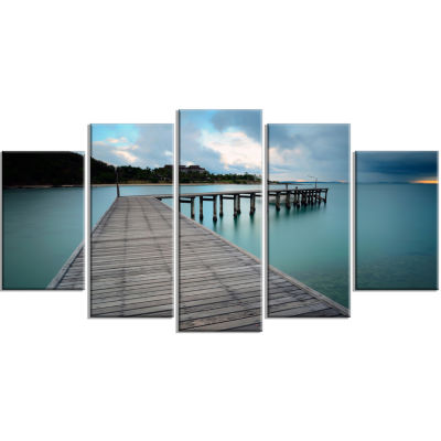 Wooden Bridge To Calm Ocean Modern Wrapped CanvasArt Print - 5 Panels