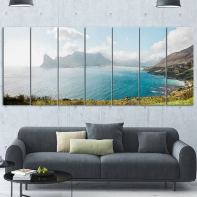 Hout Bay From Chapman Peak Seashore Photo Canvas Art Print - 5 Panels
