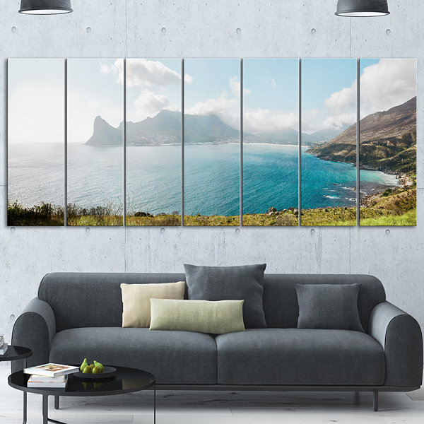 Designart Hout Bay From Chapman Peak Seashore Photo Canvas Art Print - 7 Panels
