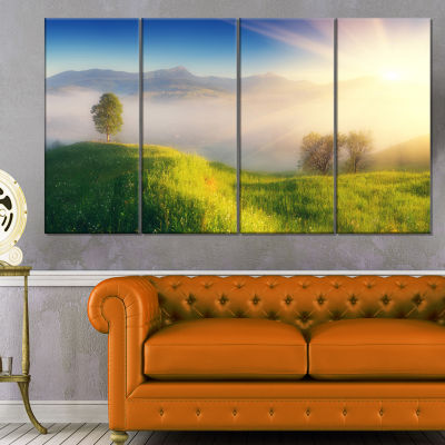 Morning Mist Over Mountain Village Extra Large Landscape Canvas Art Print - 4 Panels