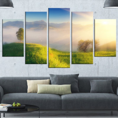 Morning Mist Over Mountain Village Extra Large Landscape Wrapped Canvas Art Print - 5 Panels