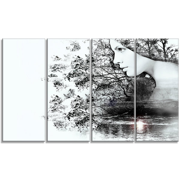 Designart Woman And Beauty Of Nature Extra LargeLandscape Canvas Art Print - 4 Panels