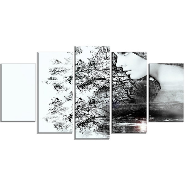 Designart Woman And Beauty Of Nature Extra LargeLandscape Wrapped Canvas Art Print - 5 Panels