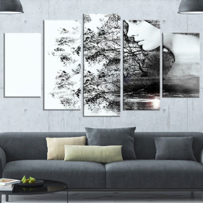 Designart Woman And Beauty Of Nature Extra LargeLandscape Canvas Art Print - 5 Panels