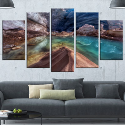 Designart Colorful Glacier Cave Extra Large Landscape Canvas Art Print - 4 Panels