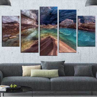 Designart Colorful Glacier Cave Extra Large Landscape Wrapped Canvas Art Print - 5 Panels