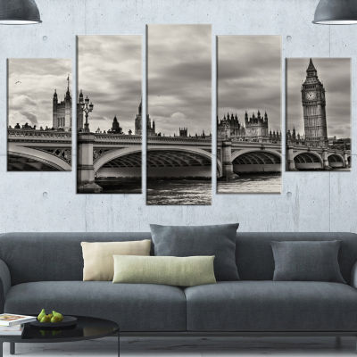 Designart Wonderful View Of Westminster Bridge Large Cityscape Wrapped Canvas Art Print - 5 Panels