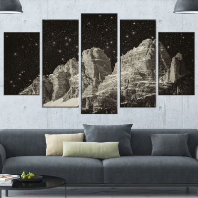 Designart High Peaks Of Dolomites Italian Alps Extra Large Landscape Wrapped Canvas Art Print - 5 Panels