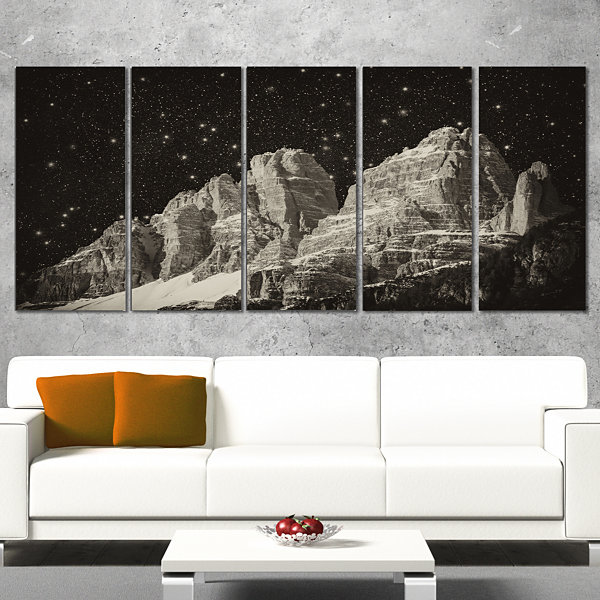 Design Art High Peaks Of Dolomites Italian Alps Extra Large Landscape Canvas Art Print - 5 Panels