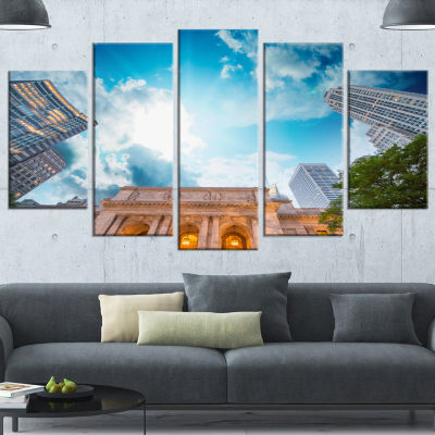 Designart New York Public Library Large CityscapeWrapped Canvas Art Print - 5 Panels