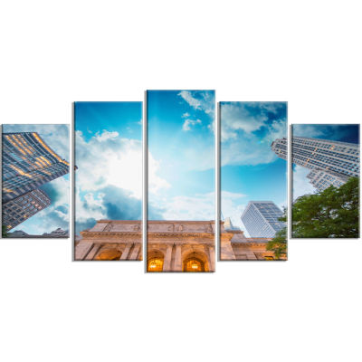 New York Public Library Large Cityscape Wrapped Canvas Art Print - 5 Panels