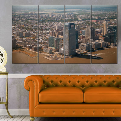 Aerial View Of City From Helicopter Large Cityscape Canvas Art Print - 4 Panels