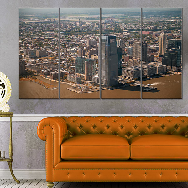 Designart Aerial View Of City From Helicopter Large Cityscape Canvas Art Print - 4 Panels