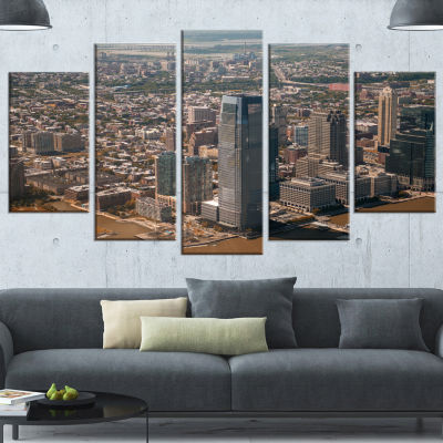 Designart Aerial View Of City From Helicopter Brown Large Cityscape Canvas Art Print - 5 Panels