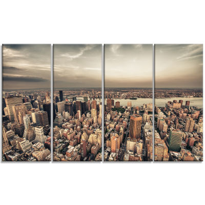 Manhattan Skyscrapers Aerial View Modern CityscapeCanvas Art Print - 4 Panels