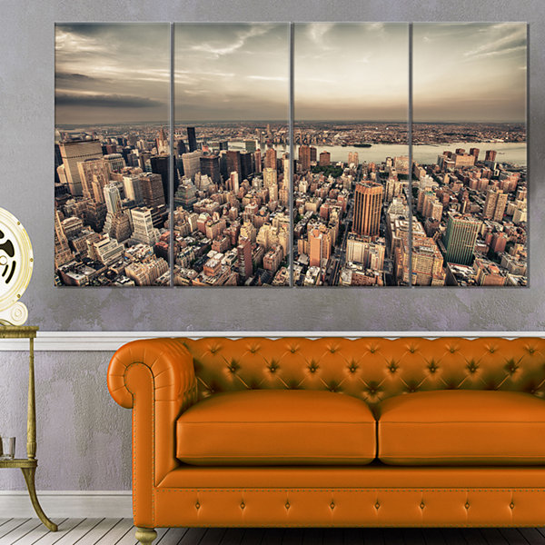 Designart Manhattan Skyscrapers Aerial View ModernCityscapeCanvas Art Print - 4 Panels