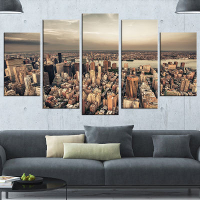 Manhattan Skyscrapers Aerial View Large Modern Cityscape Canvas Art Print - 5 Panels
