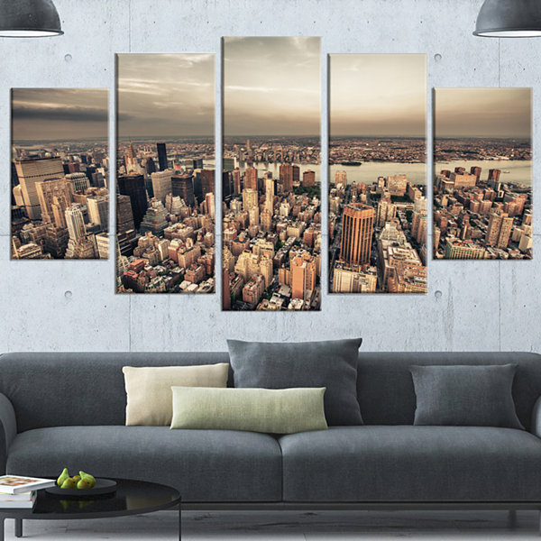 Design Art Manhattan Skyscrapers Aerial View LargeModern Cityscape Canvas Art Print - 5 Panels