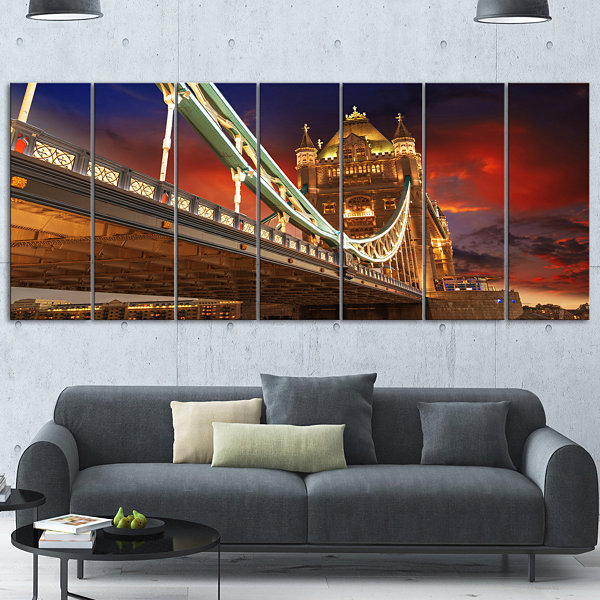 Design Art Famous Tower Bridge At Night Modern Cityscape Canvas Art Print - 5 Panels