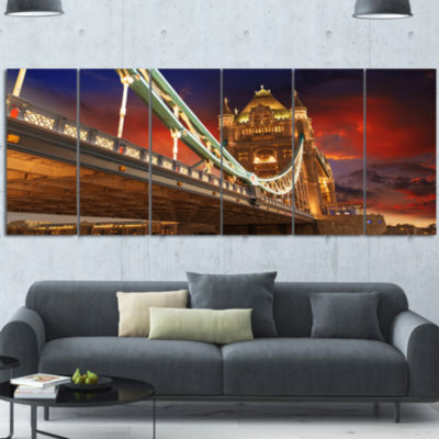 Famous Tower Bridge At Night Modern Cityscape Canvas Art Print - 6 Panels