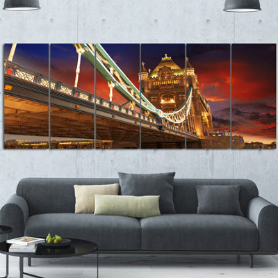 Designart Famous Tower Bridge At Night Modern Cityscape Canvas Art Print - 6 Panels