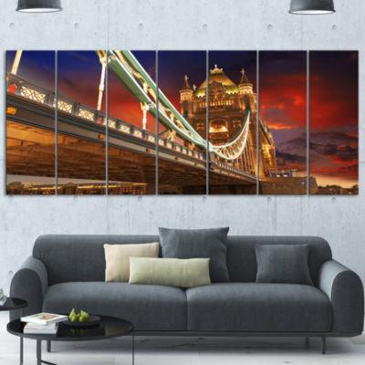 Designart Famous Tower Bridge At Night Modern Cityscape Canvas Art Print - 7 Panels