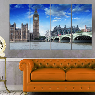 Houses Of Parliament And Westminster Bridge ModernCityscape Canvas Art Print - 4 Panels
