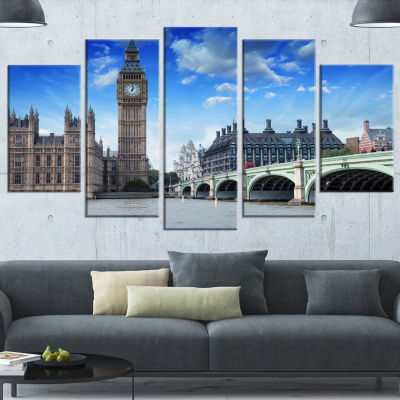 Houses Of Parliament And Westminster Bridge LargeModern Cityscape Canvas Art Print - 5 Panels