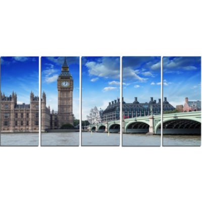 Houses Of Parliament And Westminster Bridge ModernCityscape Canvas Art Print - 5 Panels